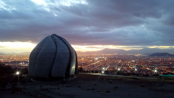 Chile House of Worship overlooking Santiago